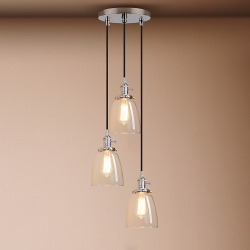 Cluster 3 Lamp Retro Industrial Cloche Glass Shade Loft Ceiling Pendant Light