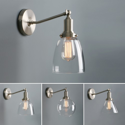 Retro Industrial Rustic Clear Glass Sconce with Pathson Unique Brushed Fitting