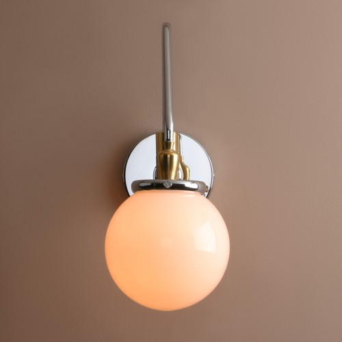 """Industrial Vintage 5.9"""" Creamy White Glass Ball Shade Adjustable Wall Light"""