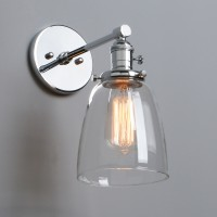 Retro Industrial Cloche Clear Glass LampShade Edison Chic Wall Light Sconce