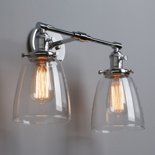 """5.6"""" Retro Industrial Clear Glass LampShade Up Down Double Arm Wall Sconce Light"""