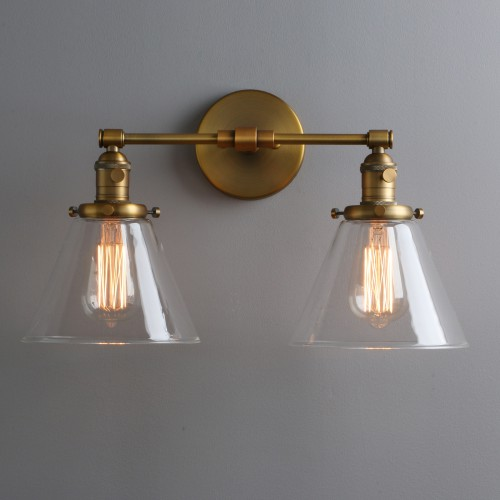 "7.3"" Retro Industrial Light Up Down Double Arm Wall Sconce Cone Glass LampShade"