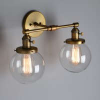 "5.9"" Retro Industrial Globe Glass LampShade Up Down Double Arm Wall Sconce Light"