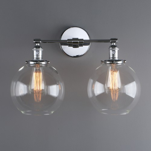 """7.9"""" Retro Industrial Globe Glass LampShade Double Arm Wall Sconce Up Down Light"""