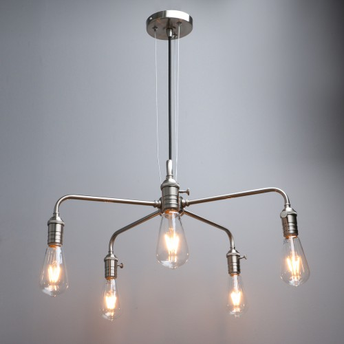 5 Way Vintage Industrial Metal Iron Cluster Ceiling Pendant Light
