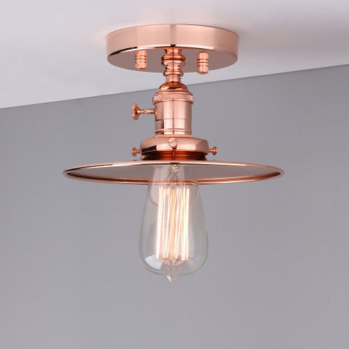Retro Industrial Iron Sconce Wall Lamp Loft Bar Semi-Flush Mount Light