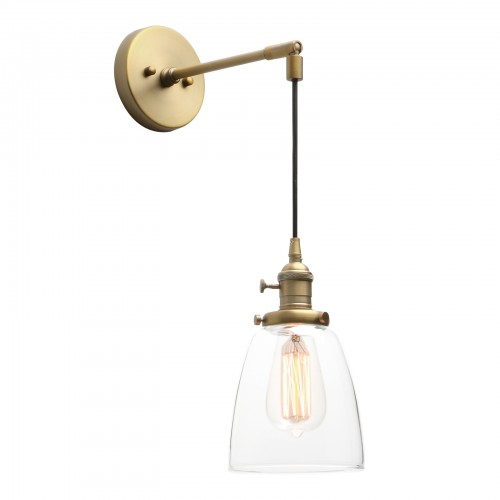 Retro Industrial Style Cloche Clear Glass Wall Lamp Hanging Sconce Light