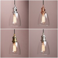 "5.6"" Retro Industrial Ceiling Pendant Light Loft Lamp Cloche Glass Shade Bathroom"