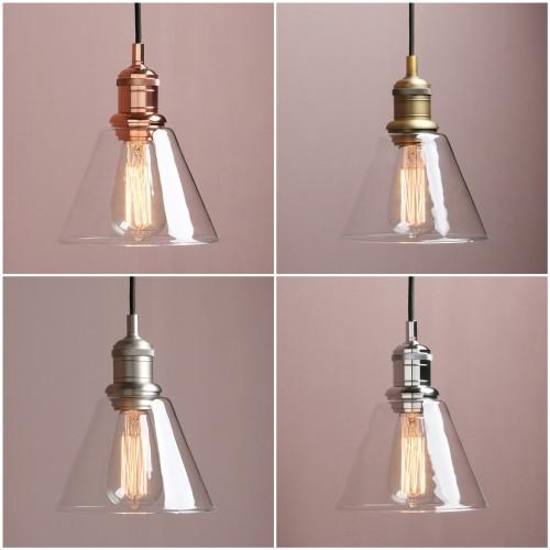"7.3""Retro Industrial Ceiling Pendant Light Loft Lamp Funnel Glass Shade Bathroom"