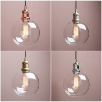 "7.9"" Retro Industrial Ceiling Pendant Light Loft Lamp Globe Glass Shade Bathroom"