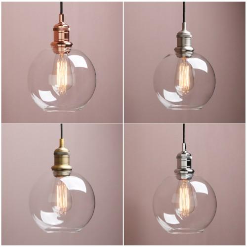 "7.9"" Retro Industrial Ceiling Pendant Light Loft Lamp Globe Glass Shade Bathroom"