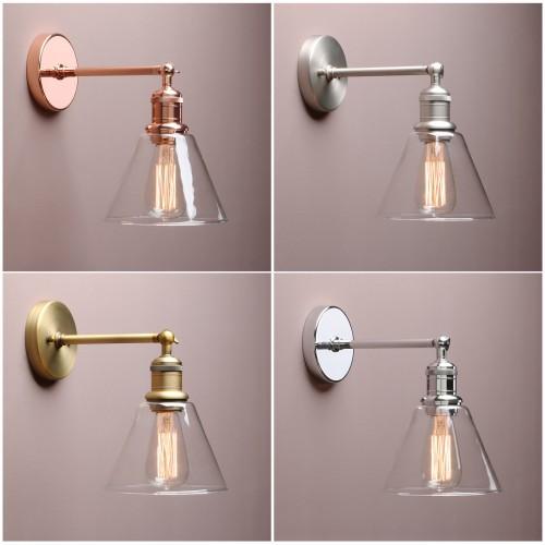 Retro Industrial Bathroom Wall Lamp Sconce Funnel Glass Shade Wall Lighting