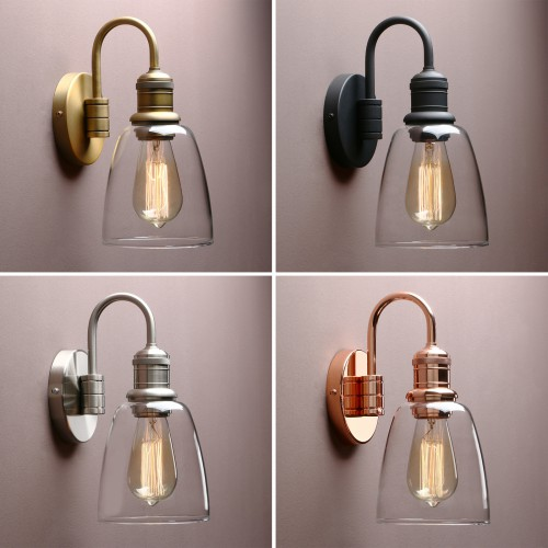 "5.6"" Retro Industrial Bathroom Bar Wall Lamp Sconce Cloche Glass Shade Wall Light"