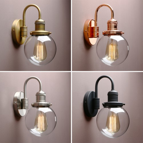 "5.9"" Retro Industrial Bathroom Bar Wall Lamp Sconce Globe Glass Shade Wall Light"