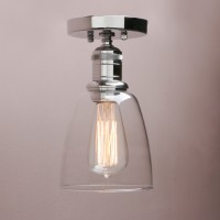 Retro Industrial Flushmount Pendant Light Bell Glass Lampshade Copper Fitting