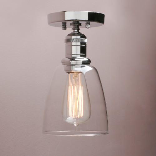 Retro Industrial Flushmount Pendant Light Bell Glass Lampshade Copper Fitting