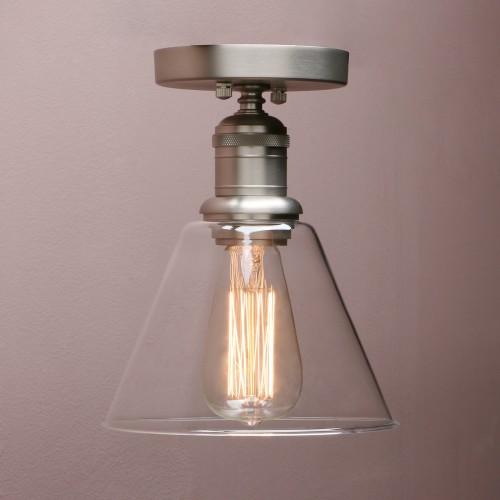 Retro Industrial Flushmount Pendant Light Funnel Glass Lampshade Copper Fitting