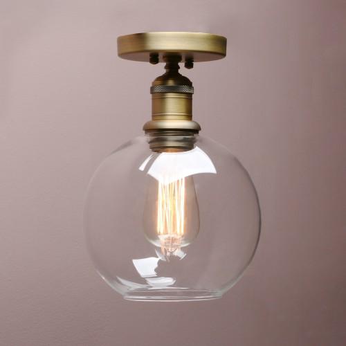Retro Industrial Flushmount Pendant Light Globe Glass Lampshade Ceiling Light