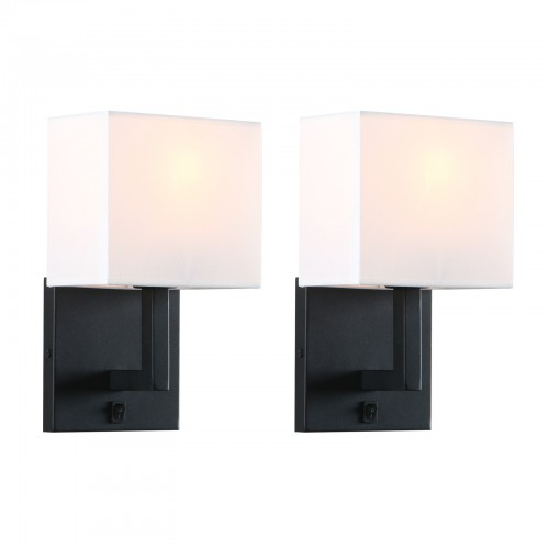 1/Pair Modern Cloth Fabric Shade Wall Lamp Double Bedside Iron Sconce