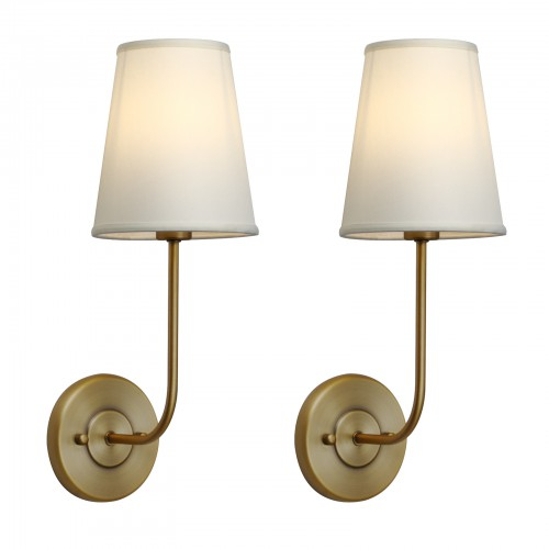 Pair Modern Industrial Off-White Cloth Shade Wall Lamps Bedside Sconces