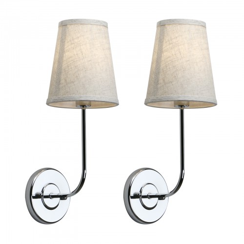 Modern Industrial Bedside Wall Lamps Linen Type Cloth Shade Pair Sconces