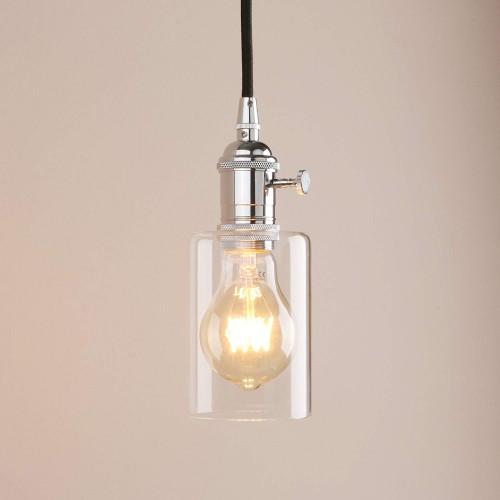 Pendant Light Mini Vintage Ceiling Fixture Flush Mount With Adjule Textile Cord