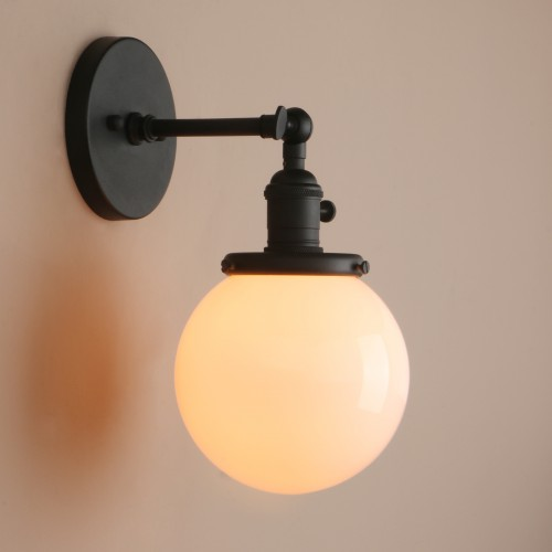1 Light Wall Sconce With White Globe Shade Vintage Style Fixtures On Off Switch